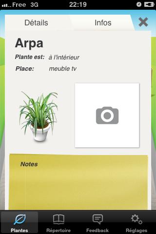 Informations de votre plante